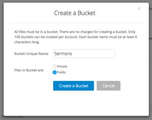 Creating a B2 bucket