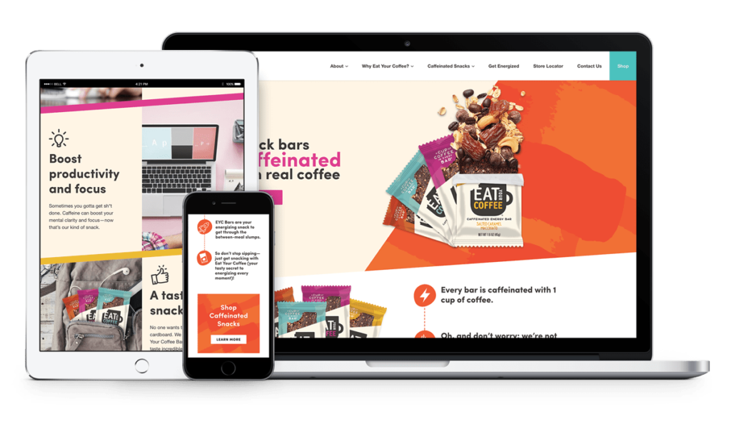 Eat Your Coffee site responsive mockup